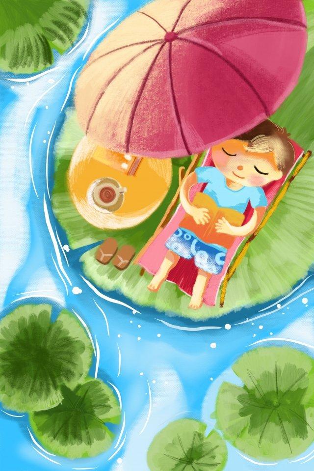 夏真夏ロータス池プール イラスト素材