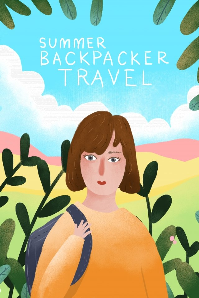 summer midsummer travel backpacker, Personal Travel, Graduation Trip, Illustration illustration image