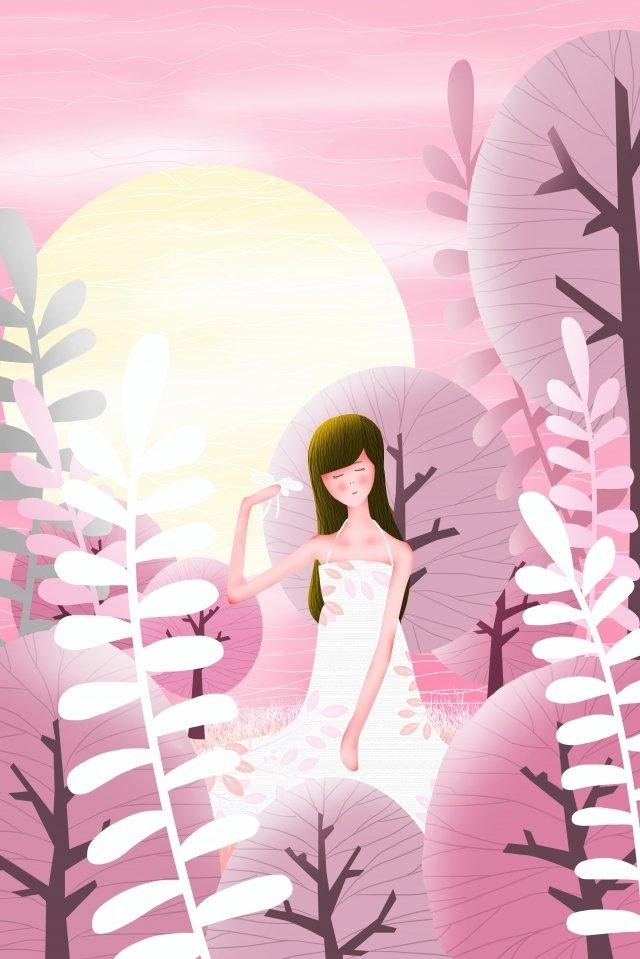 лето лунный свет девочка подросток лист Ресурсы иллюстрации