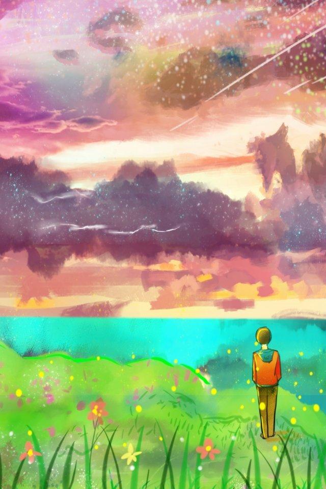 noite de verão bonito sonho de verão Material de ilustração