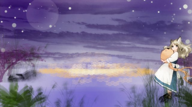 summer night beautiful midsummer dream, Hand Painted, Starry Sky, Healing illustration image