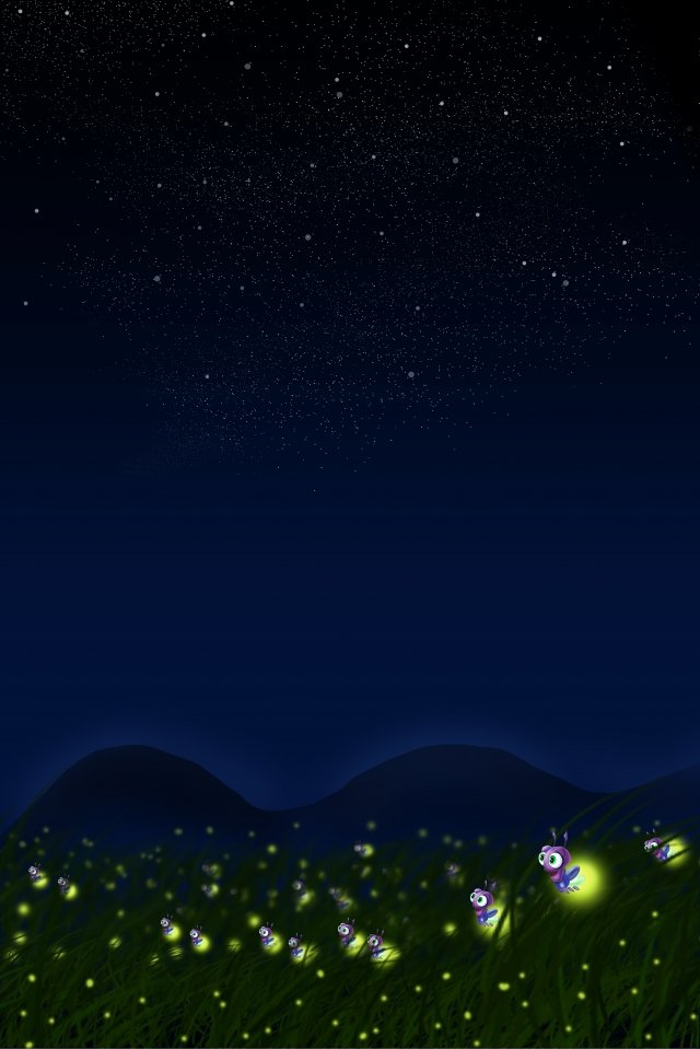 summer night firefly grass night, Night View, Star, Summer Night Scenery illustration image