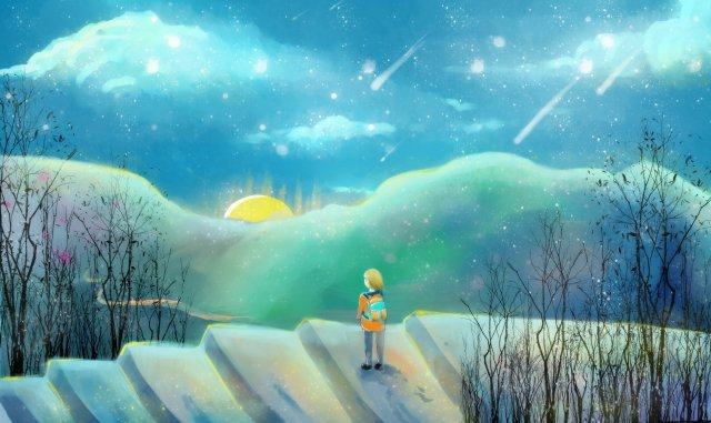 summer night self-healing system beautiful hand painted, Starry Sky, Literary, Ladder illustration image