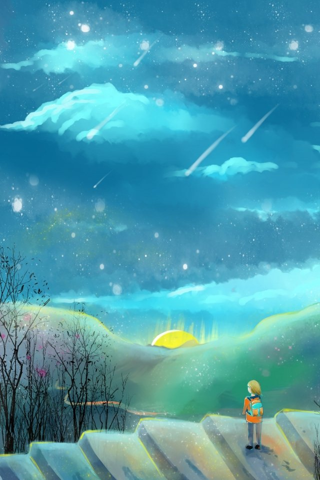 summer night starry sky beautiful hand painted, Cartoon, Literary, Self-healing System illustration image