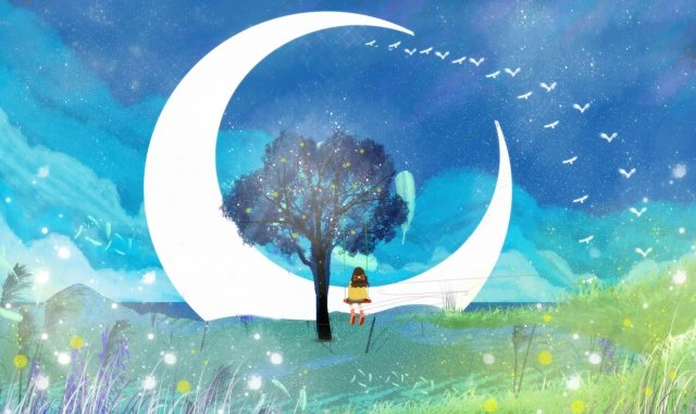 summer night starry sky beautiful hand painted, Moon, Flying Bird, Literary illustration image