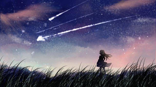 夏夜滿天星斗的天空美麗的插圖 插畫素材 插畫圖片