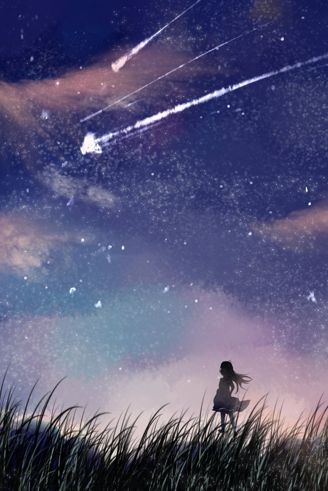 summer night starry sky beautiful illustration, Hand Painted, Literary, Healing illustration image
