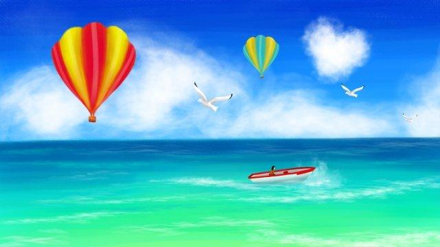 summer ocean hot air balloon hand drawn illustration llustration image illustration image