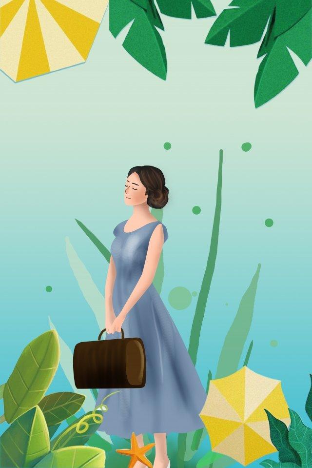 夏天植物綠傘 插畫素材 插畫圖片