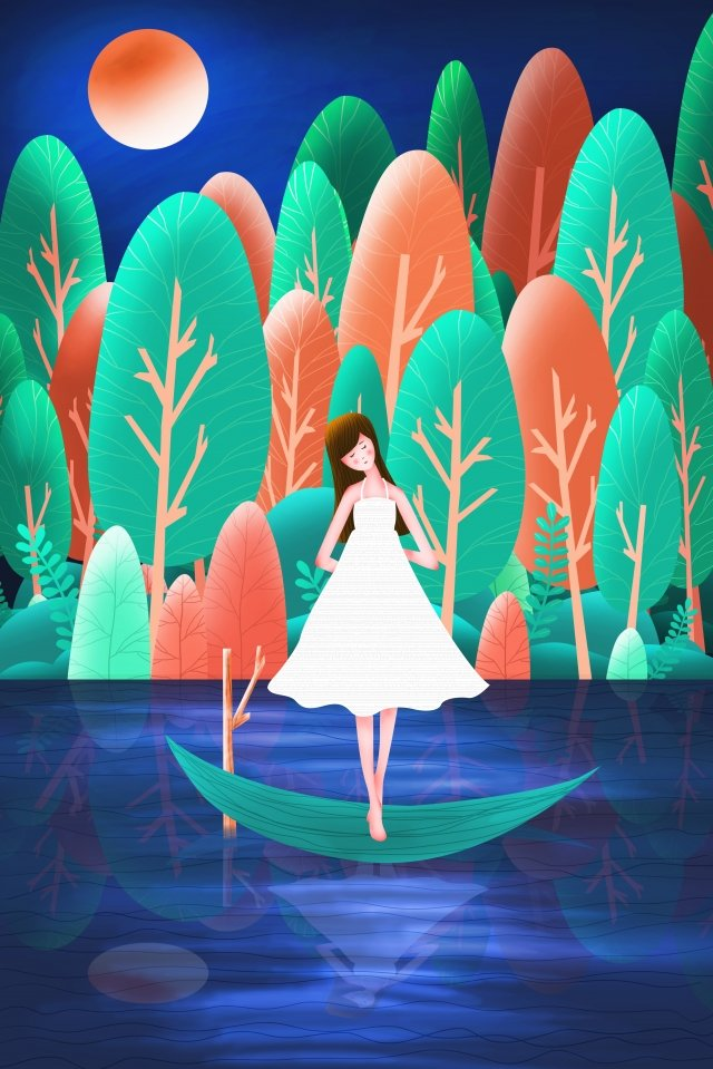 गर्मियों में झील किशोर लड़की जंगल से खेलती है चित्रण छवि