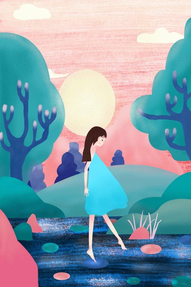 summer playing by the lake teenage girl fresh llustration image