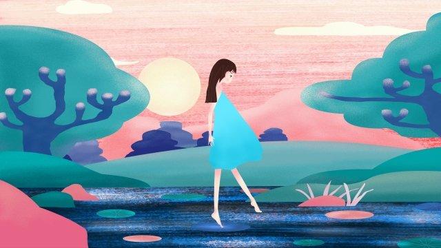 summer playing by the lake teenage girl fresh llustration image illustration image