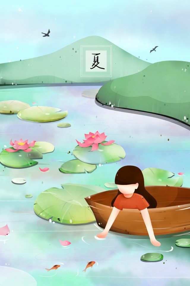 summer pond lotus lotus leaf illustration image