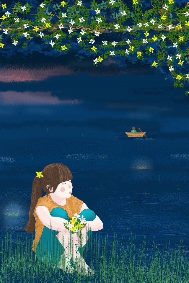 lagoa de verão grama de água árvore de flor Material de ilustração