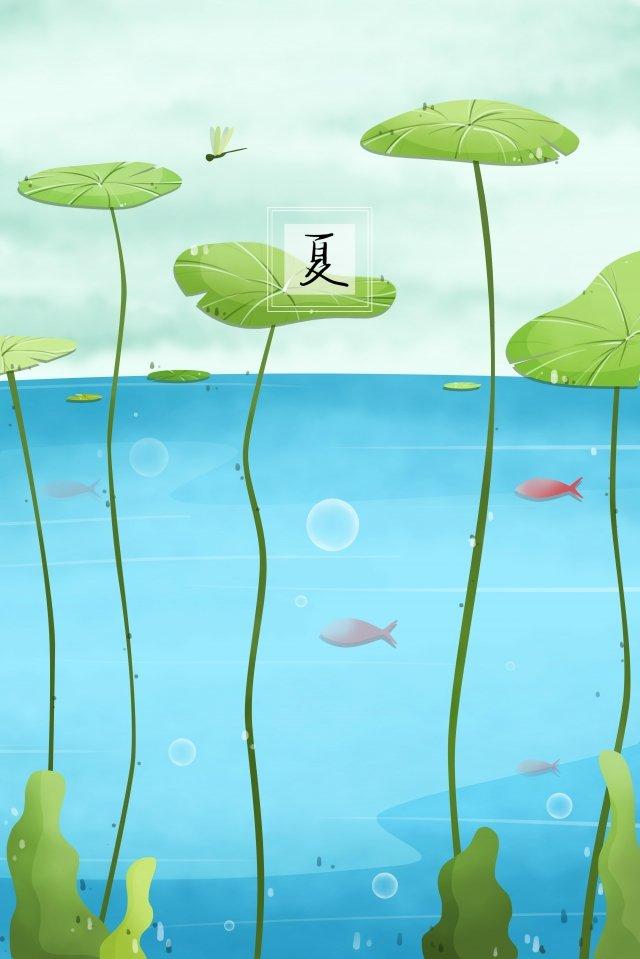 summer pond water lotus leaf illustration image