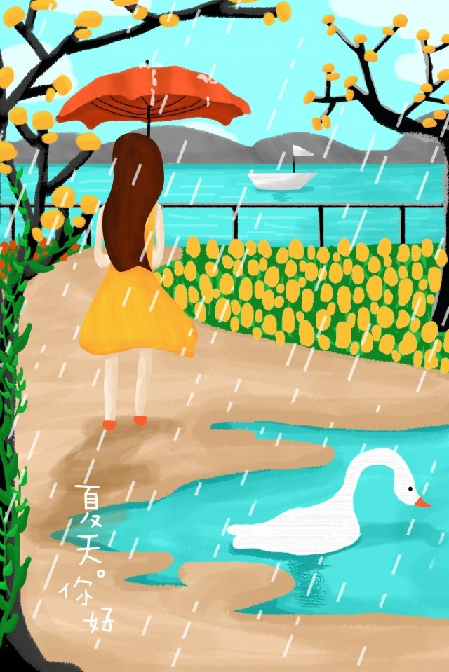 summer rainwater illustration girl, Series, Hand Painted, Red Umbrella illustration image