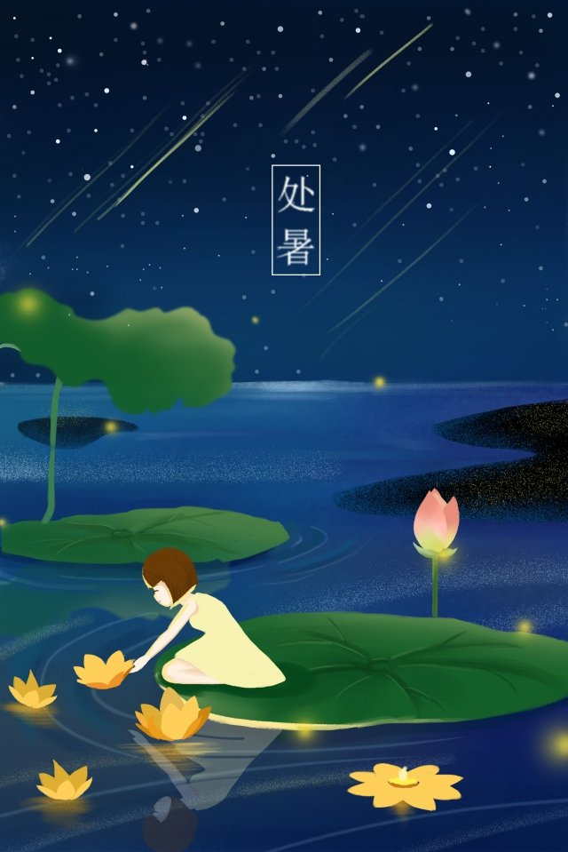summer river light night blue illustration image