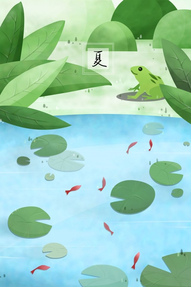 summer river water riverside shore, Lotus Leaf, Fish In The Water, Frog illustration image