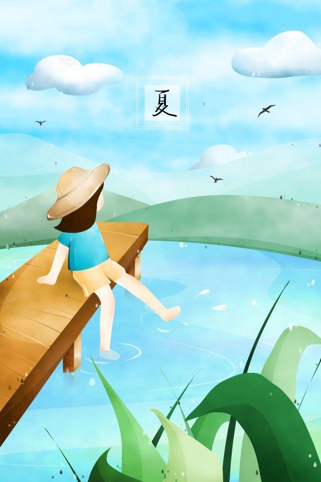 夏の川沿いの女の子の帽子 イラスト素材