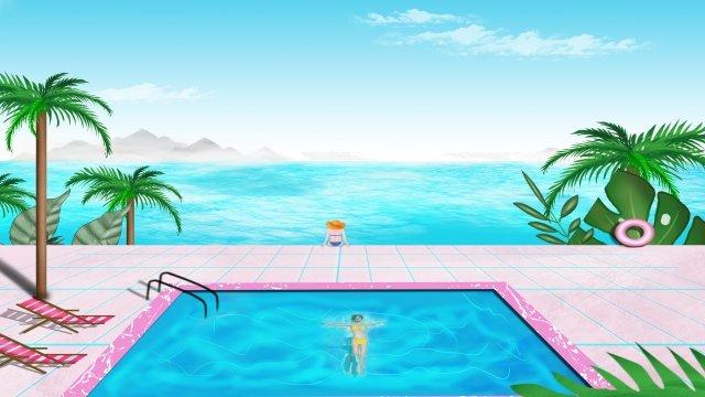 夏天海景海邊風景海邊別墅海邊 插畫素材