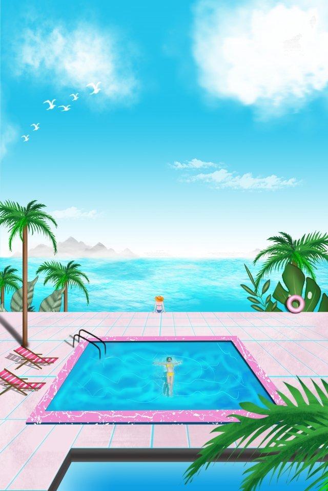 夏日海边风景图海报 夏日海景 夏天 海边风景海边别墅  蓝天  海边风景PNG和PSD illustration image