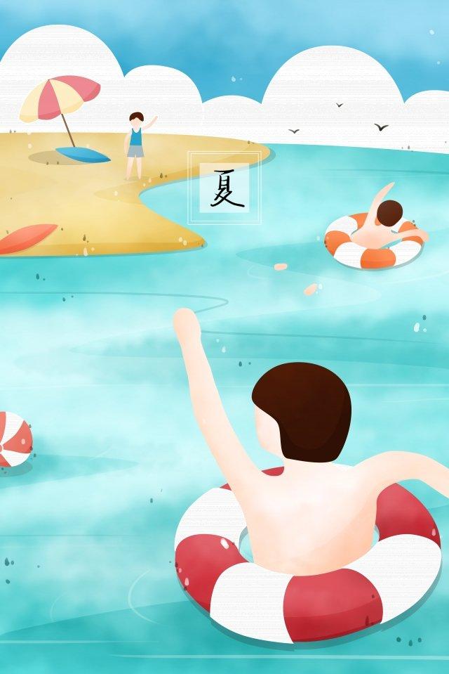 夏季海邊游泳波 插畫圖片