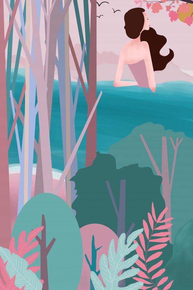 summer seaside teenage girl fresh, Cartoon, Girl, Beautiful illustration image