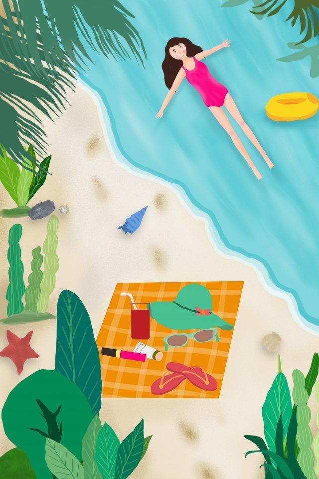 夏天海邊十幾歲的女孩新鮮 插畫圖片
