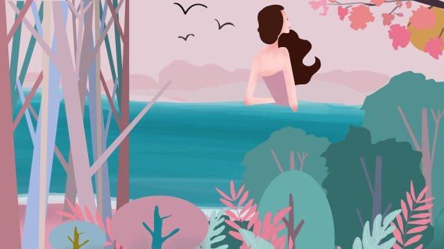 夏天海邊十幾歲的女孩新鮮 插畫素材