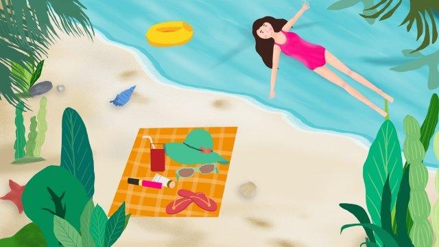 夏の海辺の十代の少女新鮮な イラストレーション画像