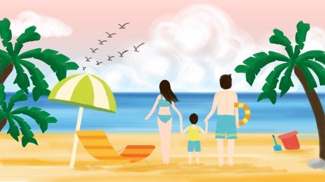 夏天海邊旅遊椰子樹 插畫素材
