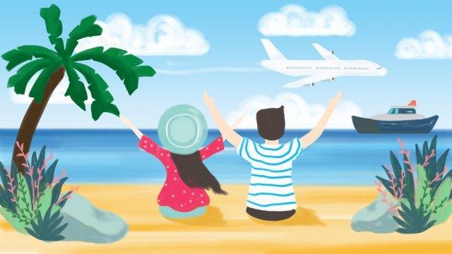夏の海辺の観光ココナッツの木 イラストレーション画像