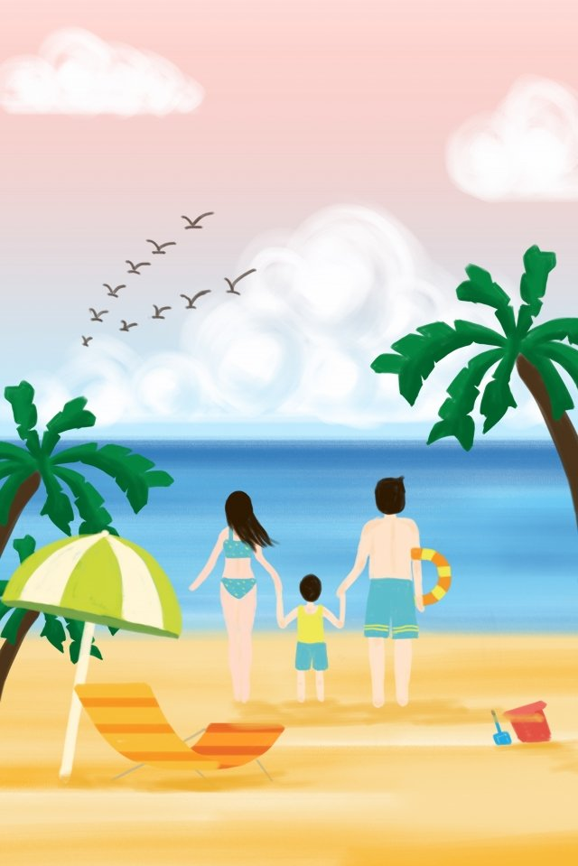 summer seaside tourism coconut tree, Sky, Sea, Beach illustration image