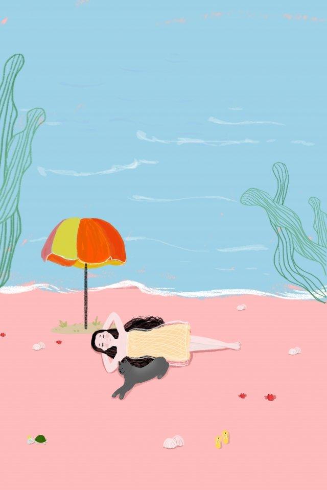 夏季海邊旅遊很酷 插畫圖片