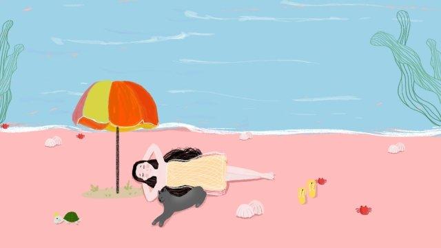 夏季海濱旅遊新鮮 插畫素材