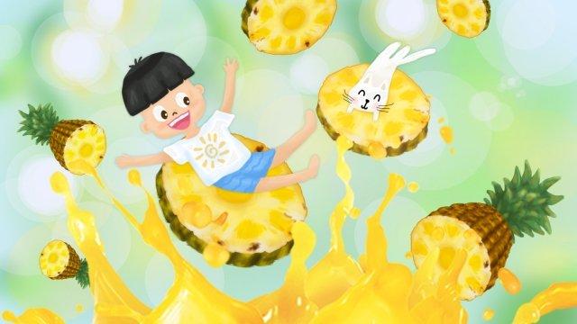 夏六一子供日パイナップル イラストレーション画像 イラスト画像
