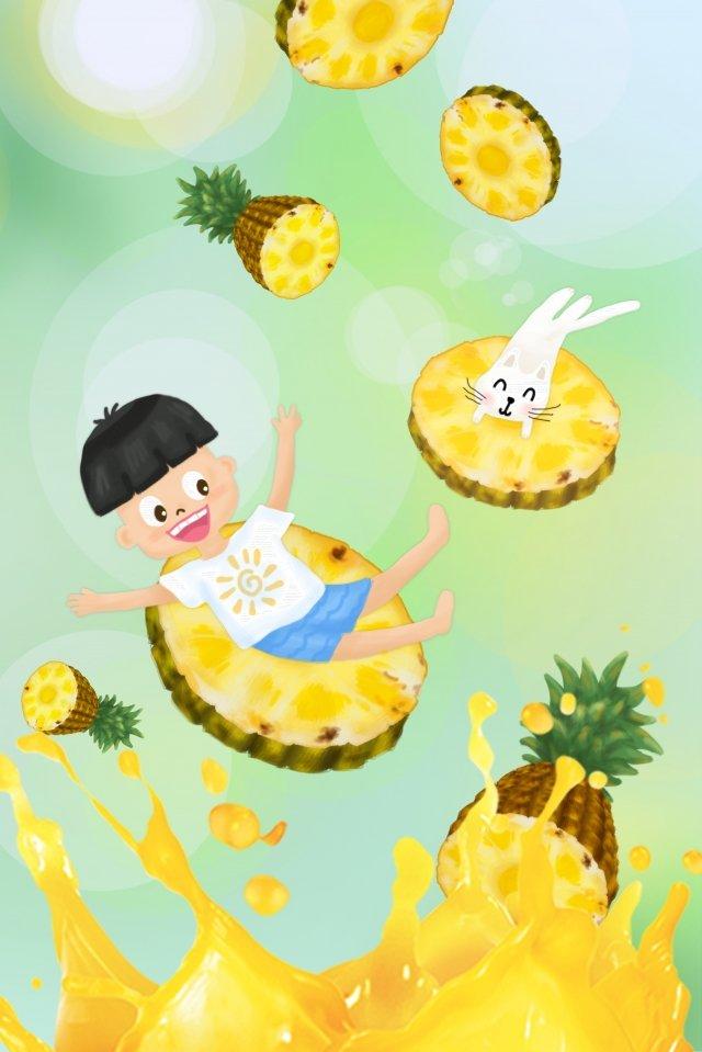 夏6 1子供の日パイナップルフルーツジュース、白、猫、手描き、イラスト、ハロー、緑、青、黄色、子供、動物、人々、夏、6  1、子供の日、パイナップル PNGおよびPSD illustration image