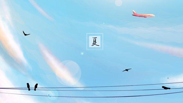 夏空ピンク雲雲層 イラスト素材 イラスト画像