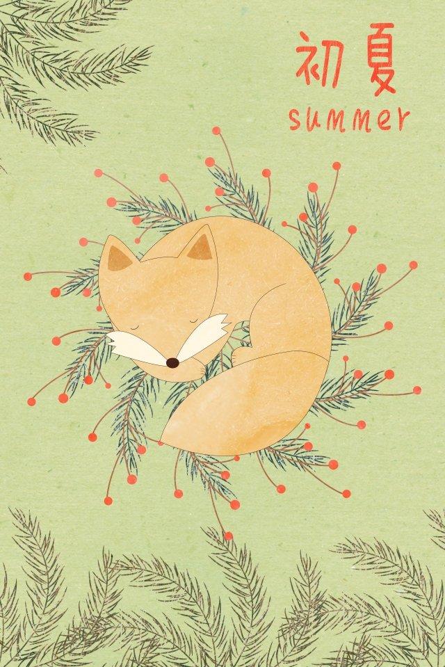 여름 수면 여우 만화 동물 삽화 소재