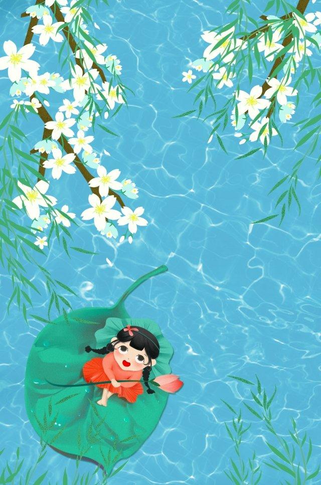 夏至新鮮的湖面荷葉 插畫圖片