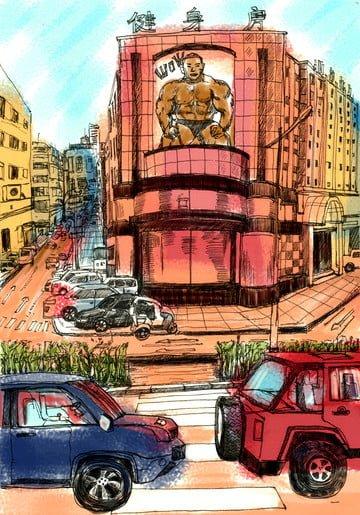 夏天街車藍天 插畫素材