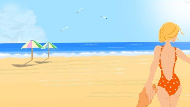 summer summer beach beauty, Swimsuit, Back View, Selfie illustration image