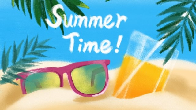 summer summer beach seaside, Beach, Fruit Juice, Sunglasses illustration image