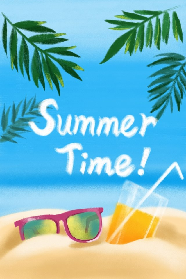 summer summer beach seaside, Beach, Fruit Juice, Sunglasses illustration image
