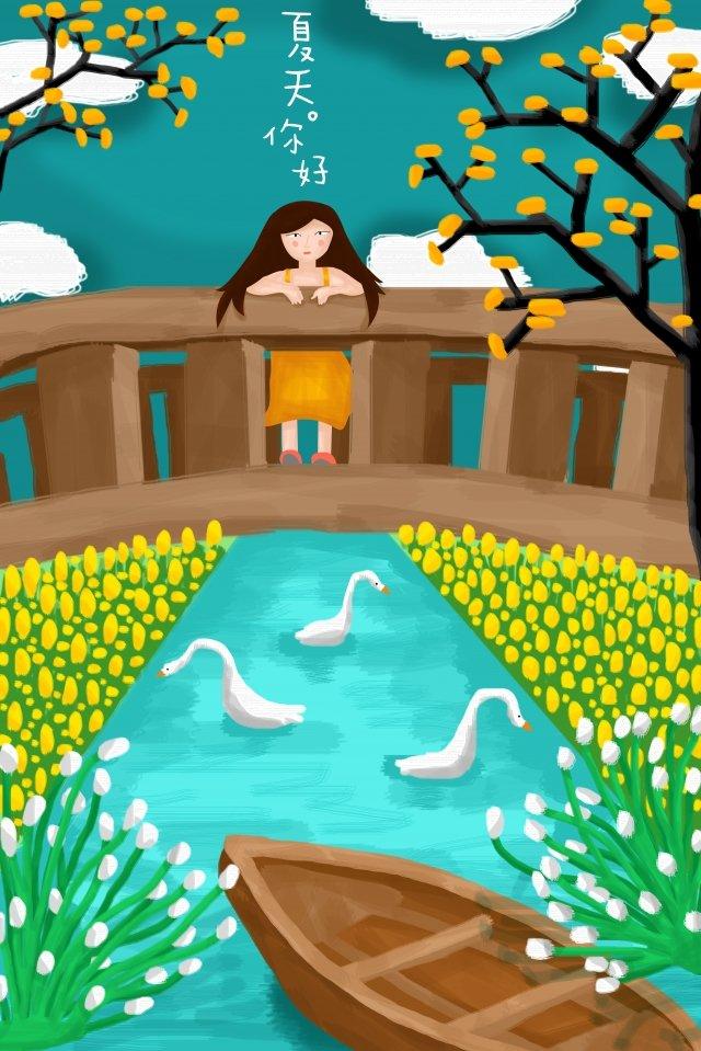 夏天夏天涼爽的手繪 插畫素材 插畫圖片