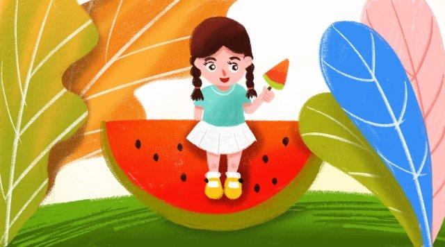 गर्मियों की गर्मियों में लड़की तरबूज चित्रण छवि चित्रण छवि