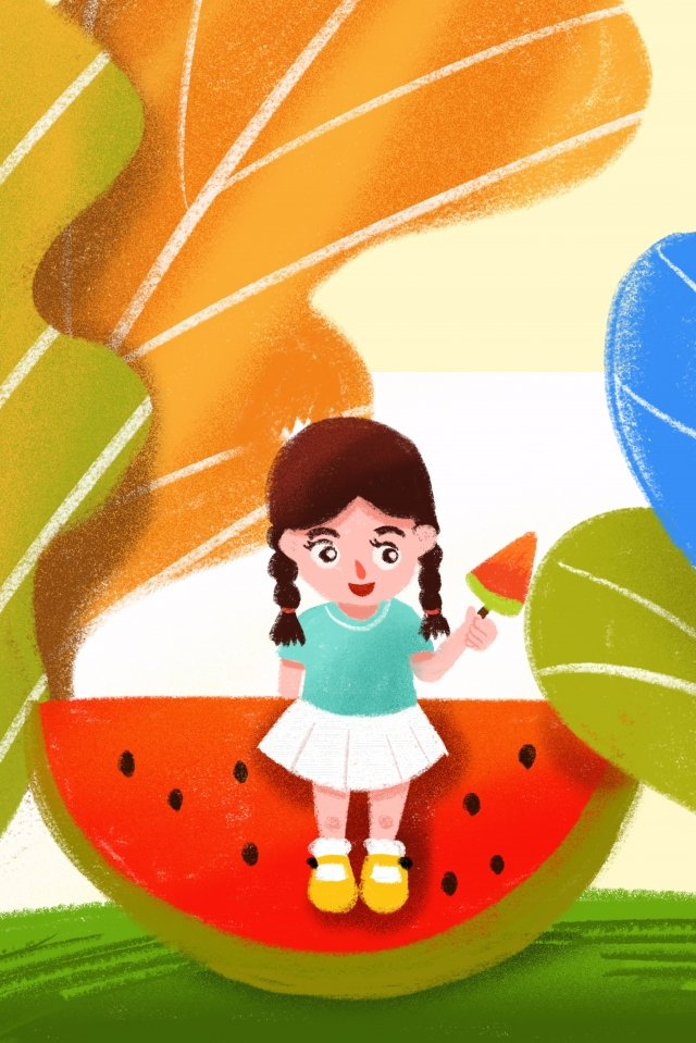 summer summer girl watermelon illustration image