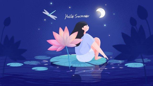 夏天夏天的夜晚夏天 插畫素材