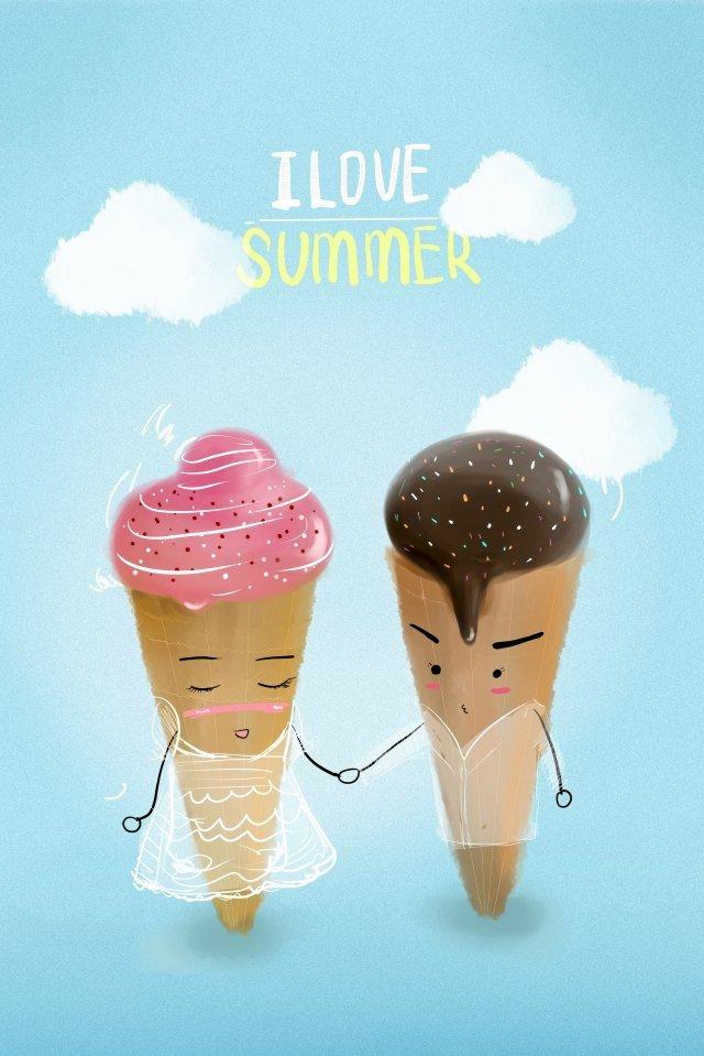 夏天夏天夏天冰淇淋 插畫素材