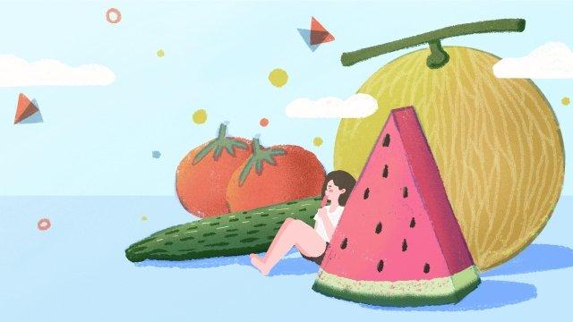 summer summer summer illustration, Fruit, Vegetables, Watermelon illustration image